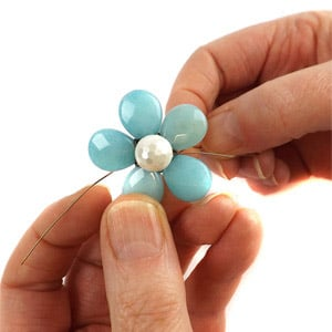 create a flower with top drilled pear drop
