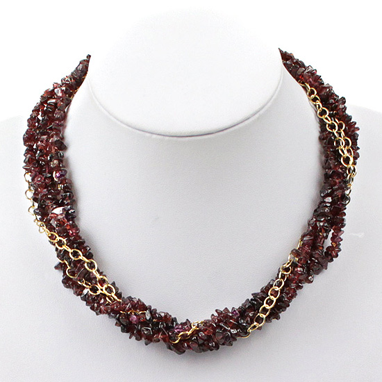 Garnet Twist Necklace