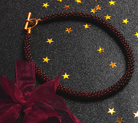 Create Kumihimo Garnet Necklace