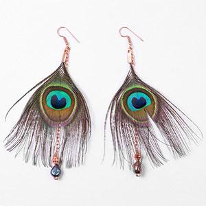 create peacock earrings