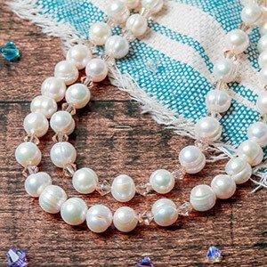 make pearl and swarovski necklace