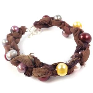 create sari silk pearl bracelet