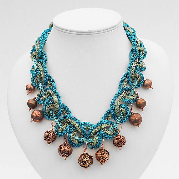 Create a knitted zari thread necklace