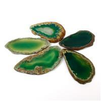 430cts Green Agate Slices Approx 20x45- 34x52mm Set Of 5 Slices