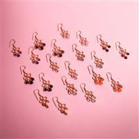 10 Pairs Rose Gold Plated Lotus Chandelier Gemstone Earrings