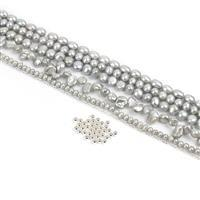 Cascading Pearls; 5x Strands Silver Cultured Pearls, 1m Sterling Silver Chain & Spacers