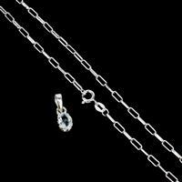 Silver Special! Inc; 925 Sterling Silver 2.5mm Round End Link Chain & Aqumarine Pendant