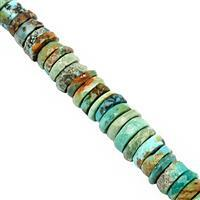 60cts Turquoise Faceted Wheels Approx 4x1 to 8x3mm, 20cm Strand