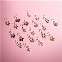 10 Pairs Silver Plated Lotus Chandelier Gemstone Earrings