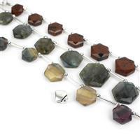 Minor Bee; Fluorite Star Hexagon, Obsidian Faceted Hexagon, Labradorite Hexagon & Clasp
