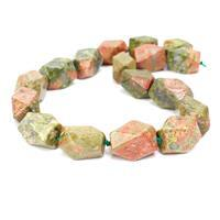 850cts Unakite Faceted Nuggets Approx 15x20mm, 38cm Strand