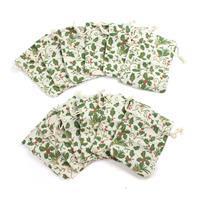 Holly Print Cotton Rich Drawstring Gift bag 12x9cm 12pk
