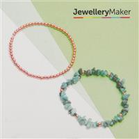 Rose Gold Plated 925 Sterling Silver Bead & Emerald Bracelets Kit