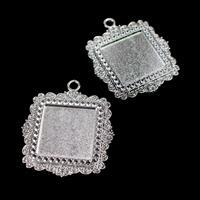 Silver Colour Fancy Square Bezel Pendant Approx 35x40mm (Set of 2)