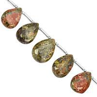 75cts Unakite Top Side Drill Plain Pear Approx 12x8 to 16.5x11.5mm, 12cm Strand with Spacers