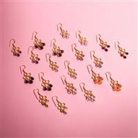 10 Pairs Gold Plated Lotus Chandelier Gemstone Earrings