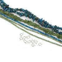 Happy Apatite Bundle; Apatite Small Nuggets & Green Apatite Round with Clasps