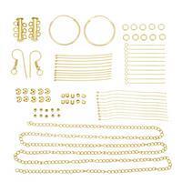 Gold Plated Base Metal Findings Pack Inc. Multi Strand Clasp & Hoop Earrings (77pcs)