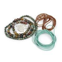 Ancient Rome: Leather Cords, Jasper 6mm & 8mm, Spacer Beads & Slider Ball Clasp