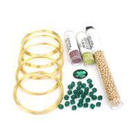 Emerald Serpent; Green Oval Glass Cabochon, Bicones, Miyuki 8/0, 11/0 & 15/0, Memory Wire