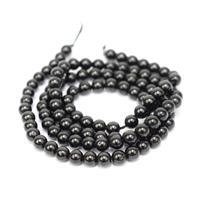 60cts Black Spinel Plain Rounds Approx 4mm, 38cm Strand