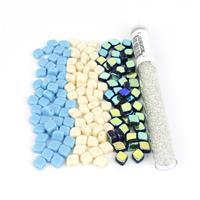 Turquoise Tide; Czech Rhombus Beads 3x 50pcs & Miyuki 11/0