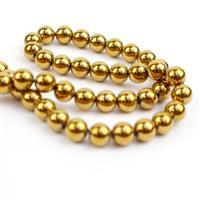200cts Golden Coated Haematite Plain Rounds Approx 6mm, 38cm