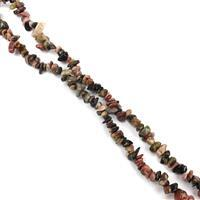 """1050cts Rhodonite Chips Approx 4x7 to 5x8mm, 100"""" Endless Chips Strands"""