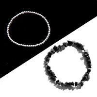 925 Sterling Silver Bead & Black Spinel Bracelets Kit