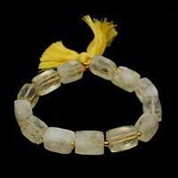 175cts Lemon Quartz Faceted Rectangles Approx 10x14mm, 20cm strand