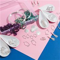 Silver Plated Copper Bumper Finding Kit (200pcs) Inc. 1800cts Multi Gemstones Small Nuggets (Approx 8.8m)