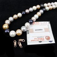 Wherever I May Roam; Mixed Colour Nucleated Freshwater Pearls 40cm Strand, Clasps & Silk Thread