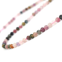 34cts Multi-Colour Tourmaline Faceted Rounds Approx 4mm, 38cm Strand