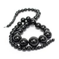 180cts Black Agate Graduated Plain Rounds, Approx 4-14mm, 38cm strand