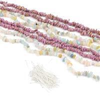 Multi Coloured Nugget Bundle; 4 Strands & Headpins