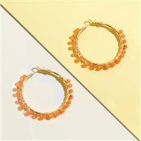 10 Pairs Gold Plated Gemstone Hoop Earrings