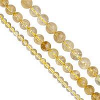 115cts Citrine Smooth Round Approx 4mm, 6mm, 8mm, 12cm Strand (Pack of 3)