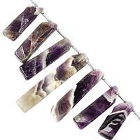 92cts Chevron Amethyst Graduated Top Side Drill Plain Fancy Bar Approx 20x8 to 45.5x8mm, 7.5cm Strand With Spacers