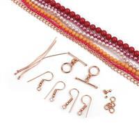 Colour Crush; Shell Pearls Hot Pink 2mm, Orange, Cranberry, Pink 4mm, Red 6mm, Findings