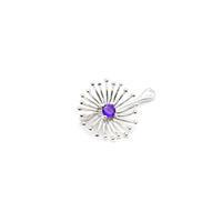 0.25cts Amethyt Willow & Tig Collection: 925 Sterling Silver Dandelion Charm, Approx 27x17