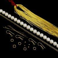Sqiggle Pearls; Cultured Pearls, Gold Coloured Silver Plated Copper French Wire & Findings Pack