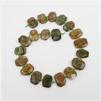 300cts Rhyolite Faceted Slabs with Spacer Beads, Approx 15x20mm, 38cm