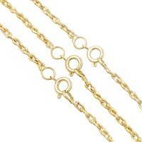 """18"""" Gold Plated Base Metal Fancy Rope Chain, Approx. 5x2.50mm (3pcs/pk)"""