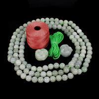 Red Magic Jade; Jadeite Buddha Heads, Jadeite Rounds  & Cord