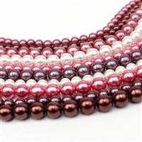 Mixed colour 10 x 38cm Strands Shell Pearl (5 x 6mm & 5 x 8mm), Berry Palette