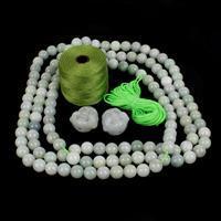 Avocado Jade; Jadeite Buddha Heads, Jadeite Rounds & Cord