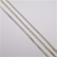 Silver Plated Base Metal Snake Chain Bracelet, 16cm (3pk)