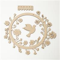 MDF Floral Jewellery Display with Dove approx. 25cm x 25cm