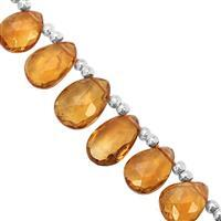15cts Madeira Citrine Top Side Drill Graduated Faceted Pear Approx 4.5x3.5 to 8x6mm, 16cm Strand with Spacers
