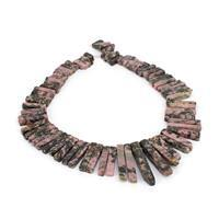 677cts Rhodonite Graduated Stick Approx 5x15 to 4x45mm, 38cm Loose Strand